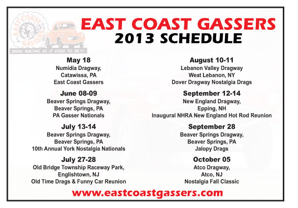 East Coast Gassers 2013 Schedule