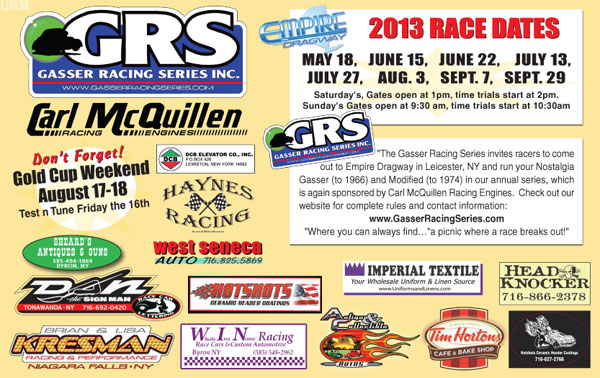 2013 Gasser Racing Series Inc. Schedule