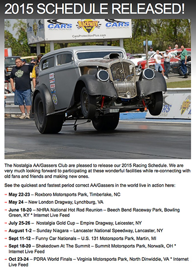 2015 Nostalgia AA/Gassers Club Events